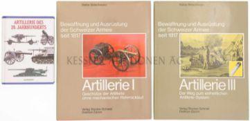 Konvolut von 3 Büchern, Bewaffnung und Ausrüstung der Schweizer Armee seit 1817, Artillerie des