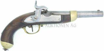 Perkussionspistole, Mod. 1842, Hersteller Beuret Frères, Liege. Kal. 17.6mm LL 180mm, TL 370mm.