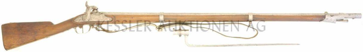Perkussionsgewehr, Infanterie 1817/42, TG, Kal. 17.6mm LL 995mm, TL 1410mm, Rundlauf, Wurzel