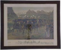 Öldruck, gerahmt, General Herzog und seine Entourage Gemalt von Karl Jauslin, 1889. Darstellung
