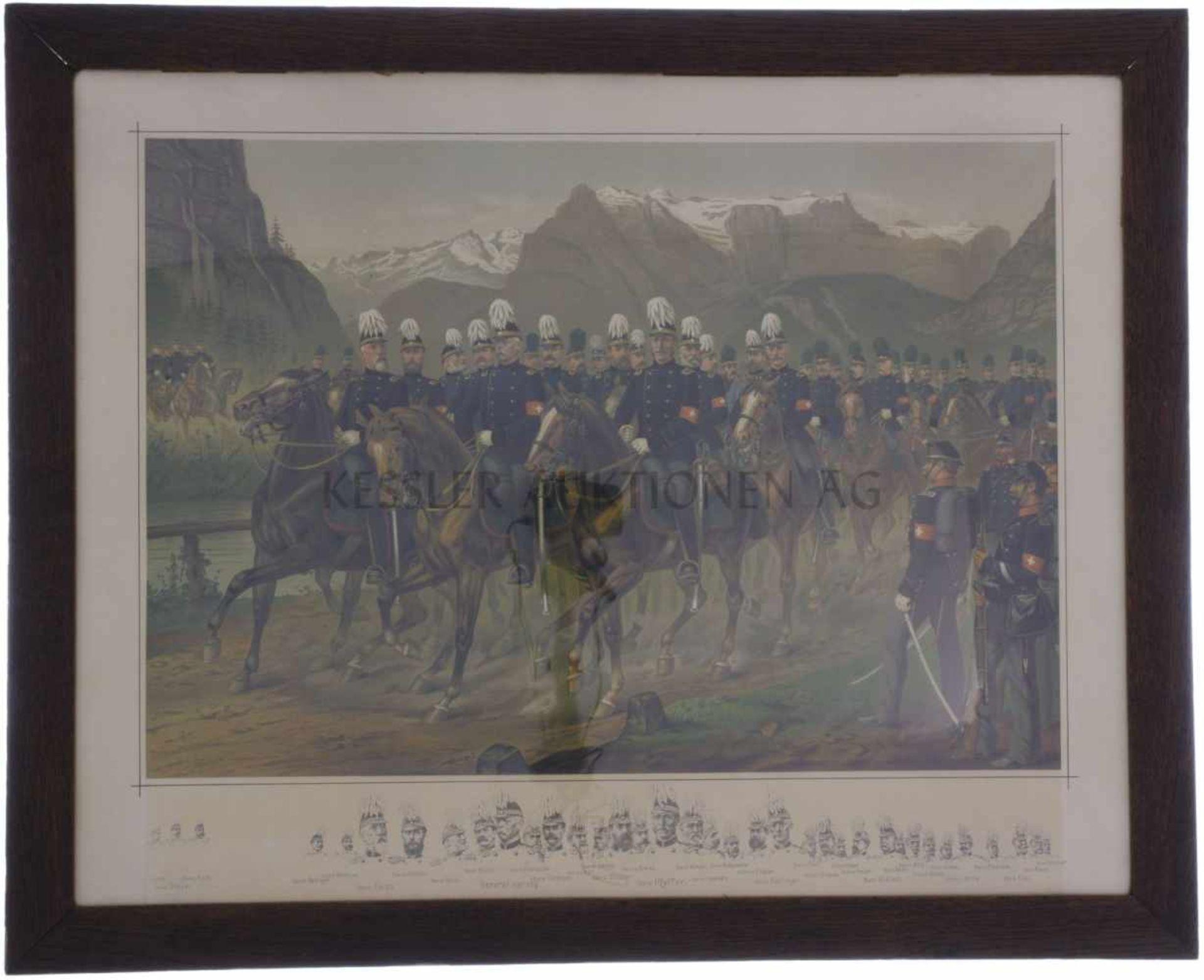 Los 2 - Öldruck, gerahmt, General Herzog und seine Entourage Gemalt von Karl Jauslin, 1889. Darstellung