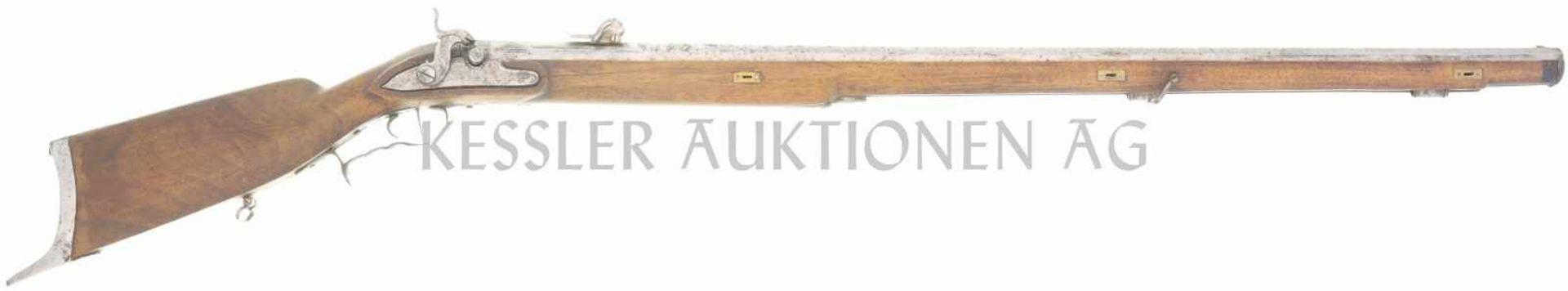 Perkussionsstutzer um 1840, Kaliber 16mm LL 910mm, TL 1300mm, gezogener Achtkantlauf, 18 Haarzüge.