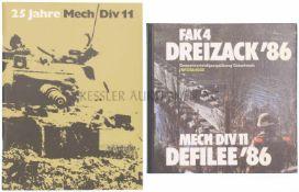 Konvolut von 2 Büchern 1. FAK4, Dreizack'86. Gesamtverteidigungsübung in der Ostschweiz. 2. 25 Jahre