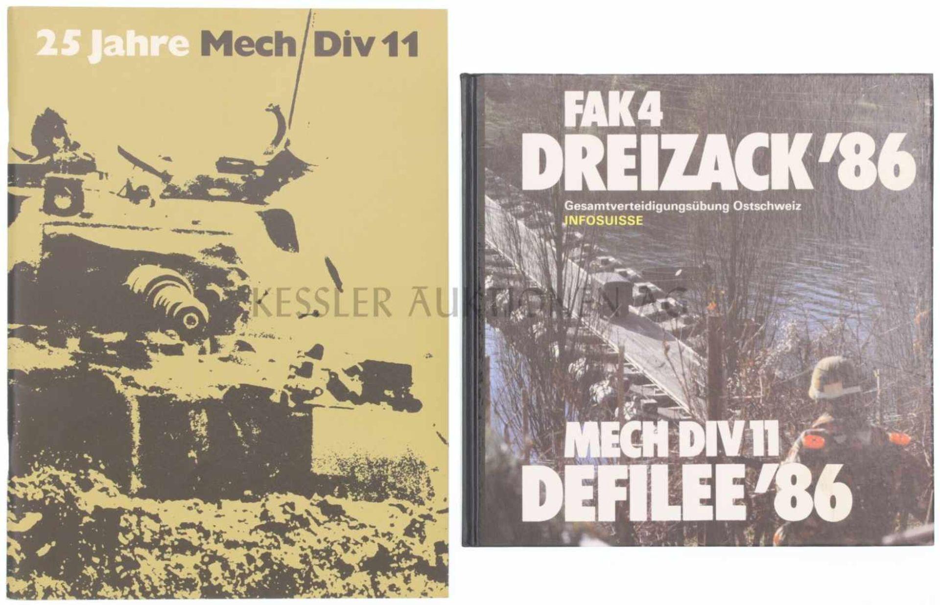Los 30 - Konvolut von 2 Büchern 1. FAK4, Dreizack'86. Gesamtverteidigungsübung in der Ostschweiz. 2. 25 Jahre