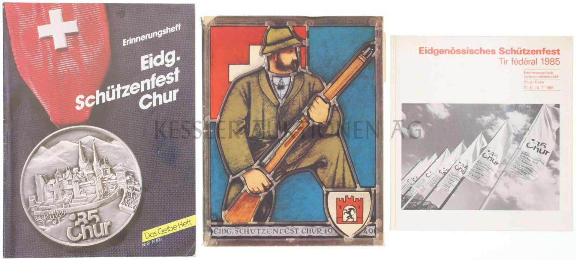 Los 29 - Konvolut von 2 Büchern und einem Heft zu Eidgenössischen Schützenfesten in Chur 1. Das 45.Eidg.