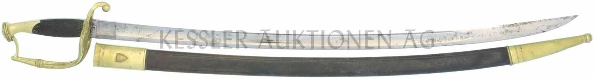 Stabsoffiziers-Säbel um 1830 KL 765mm, TL 900mm, gebogene Rückenklinge mit beidseitiger breiter