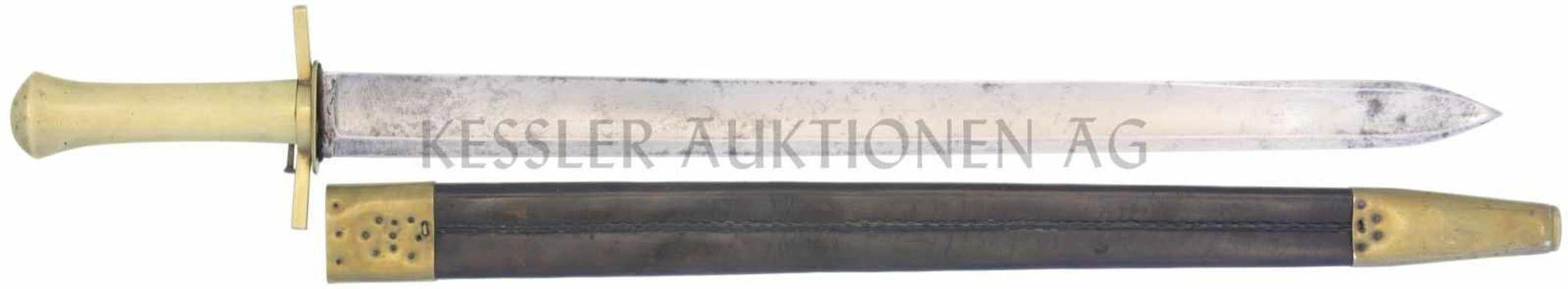 Waidmesser, kant. Ord. um 1830, Scharfschütze KL 510mm, TL 640mm, gerade Klinge, volle Wurzel,