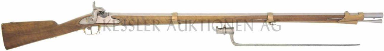 Perkussionsgewehr, Infanterie 1804/17/42, Bern, Kal. 17.6mm LL 1044mm, TL 1440mm, Rundlauf, flache