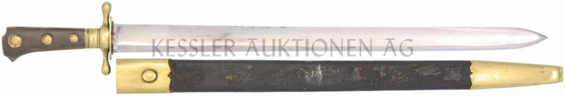 Waidmesser, Kt. VD, 1837 KL 532mm, TL 660mm, Klinge mit voller Wurzel, beidseitiger Hohlschliff,
