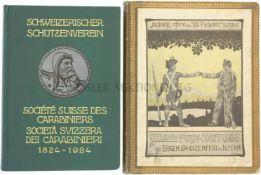 Konvolut von 2 Büchern 1. Schweizerischer Schützenverein 1824-1924, 2. Offizielle Fest-Zeitung für