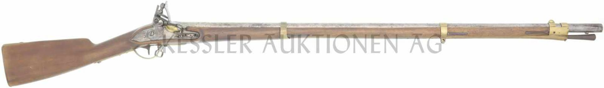 Steinschlossgewehr, 1777/1817, Kant. Thurgau, Kal. 17.6mm LL 1030mm, TL 1420mm, Rundlauf, flache