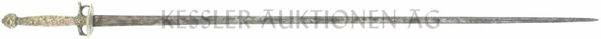 Galadegen Knabenwaffe um 1690 TL=870mm, KL=740mm, Rückenklinge mit beidseitiger Hohlbahn, Spitze
