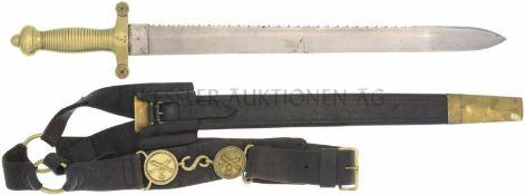 Faschinenmesser, Bern, 1842/52 Messinggefäss mit 27 Rillen, Parierstange mit 4 Rillen. KL 507mm,