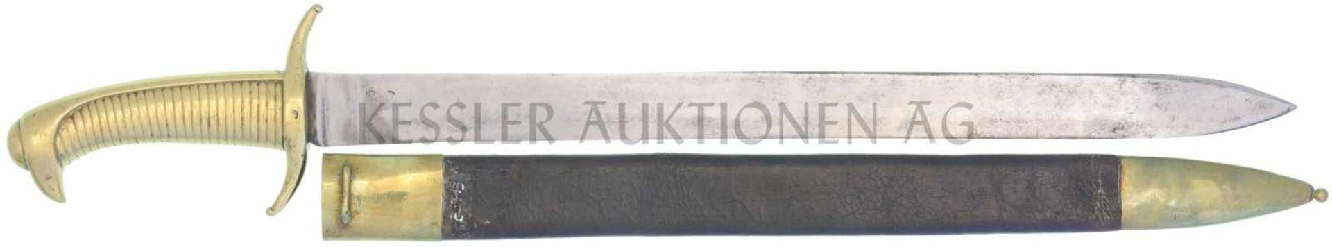 Briquette der Stadtwache Genf KL 480mm, TL 622mm, gerade Klinge, volle Wurzel, einschneidig, flacher