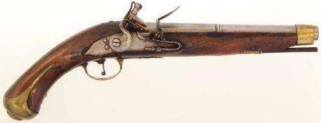 Steinschlosspistole, Deutsch, Kal. 17.8mm. 26cm-langer Achtkantlauf in rund übergehend, Suhler