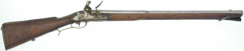Steinschloss Tromblon (Entenschnabel) um 1760, Kal. 18/35mm LL 660mm, TL 1030mm, Rundlauf mit