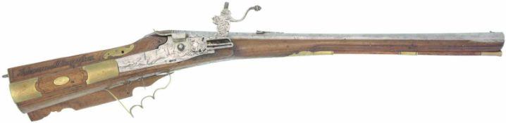 Radschlossgewehr, Sadler um 1770, Kal. 15mm. LL640mm, TL 970mm, Oktagonlauf mit 7 Zügen,