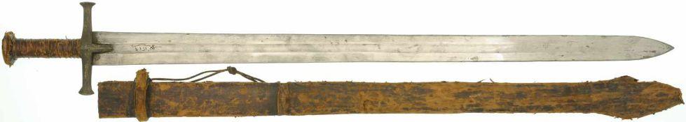"""Reiterschwert """"Kaskara"""" Sudan/Eritrea KL 905mm, TL 1035mm, zweischneidige Klinge mit breiter"""