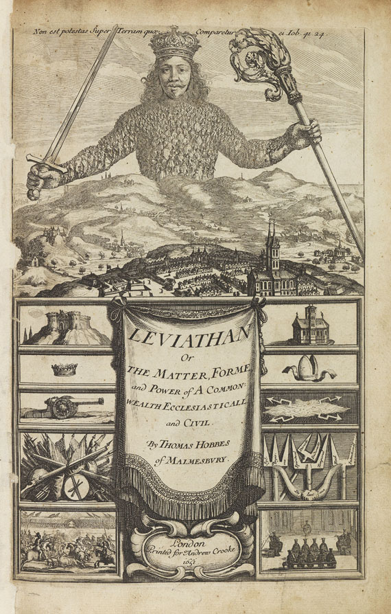 Lot 49 - Thomas Hobbes Leviathan, or the matter, forme, & power of a common-wealth ecclesiasticall and