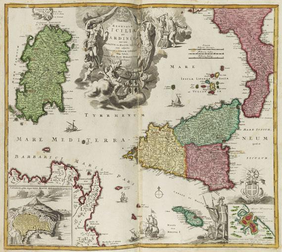 Lot 38 - Johann Baptist Homann Atlas novus terrarum orbis imperium (Kupfertitel). Sammelatlas mit 130