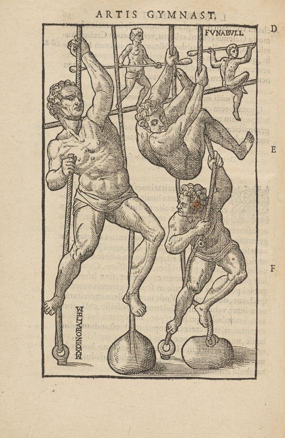 Lot 8 - Giralomo Mercuriale De arte gymnastica, libri sex. Paris, J. de Puys 1577. 'This is one of the