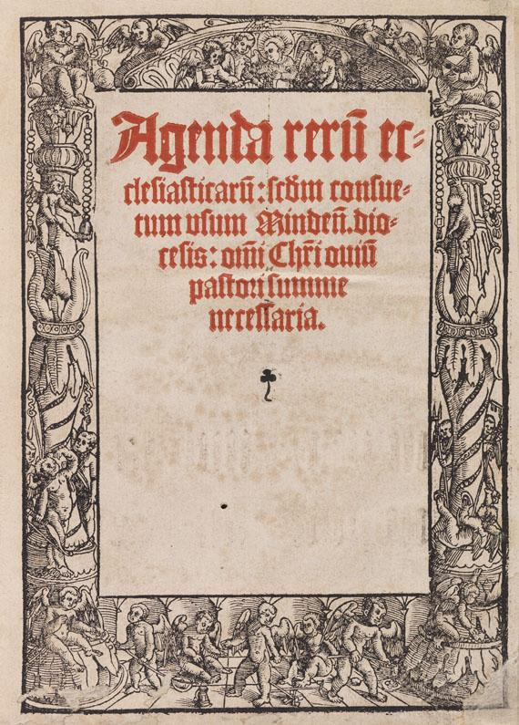 Lot 13 - Agenda rerum ecclesiasticarum secundum consuetum usum Mindensis diocesis: omni Christi ovium pastori