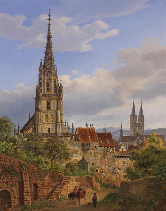 Lot 5 - Heinrich Adam 1787 Nördlingen - 1862 München Blick auf Esslingen am Neckar. 1841. Öl auf Leinwand.