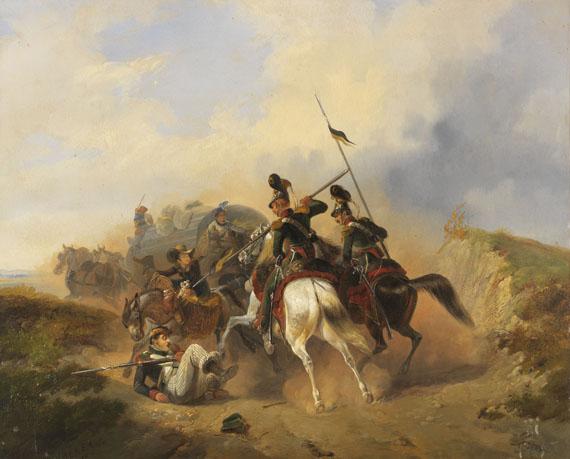 Lot 10 - Heinrich Ambros Eckert 1807 Würzburg - 1840 München Überfallsszene. 1836. Öl auf fester Malpappe.