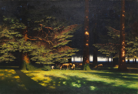 Lot 45 - Paul Wilhelm Keller-Reutlingen 1854 Reutlingen - 1920 München Grasende Schafe auf der