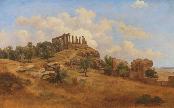 Lot 26 - Gustav Friedrich Papperitz 1813 Dresden - 1861 Dresden Blick auf den Junotempel in Agrigent. 1840.