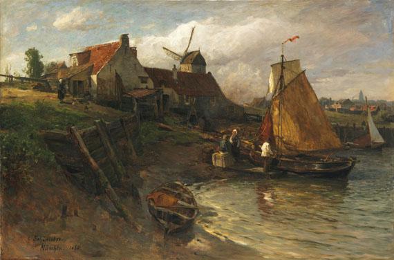 Lot 46 - Gustav Schönleber 1851 Bietigheim - 1917 Karlsruhe Sommer an der holländischen Küste. 1880. Öl auf