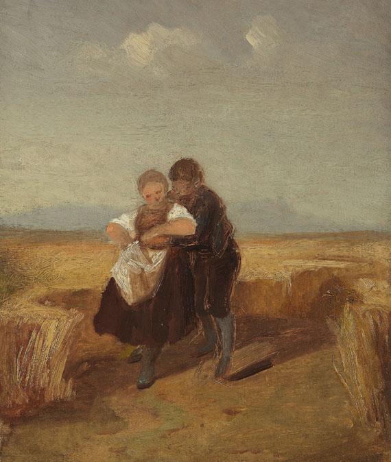 Lot 8 - Carl Spitzweg 1808 München - 1885 München Bub und Mädchen im Kornfeld. Um 1840. Öl auf dünnem