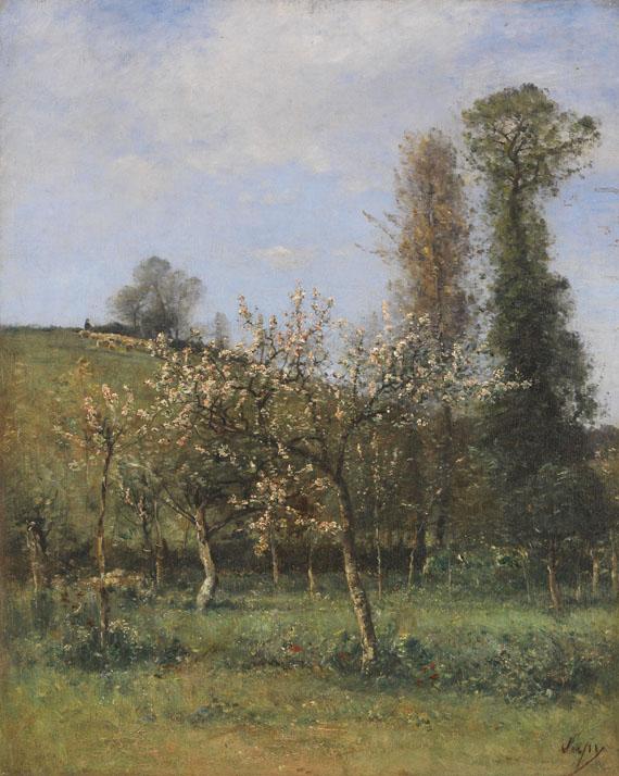 Lot 42 - Louis Aimé Japy 1840 Berne - 1916 Paris Apfelblüte. Wohl um 1890. Öl auf Leinwand. Rechts unten