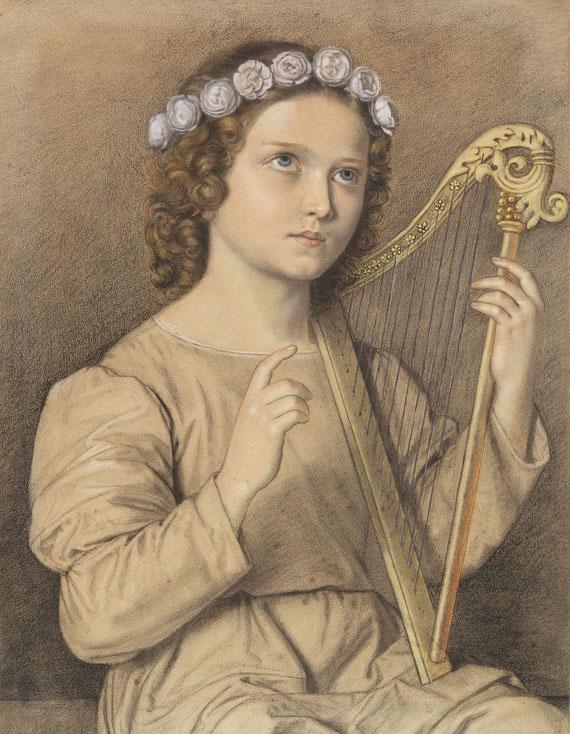 Lot 35 - Marie Ellenrieder 1791 Konstanz - 1863 Konstanz Blumenbekränztes Mädchen mit Harfe (Heilige