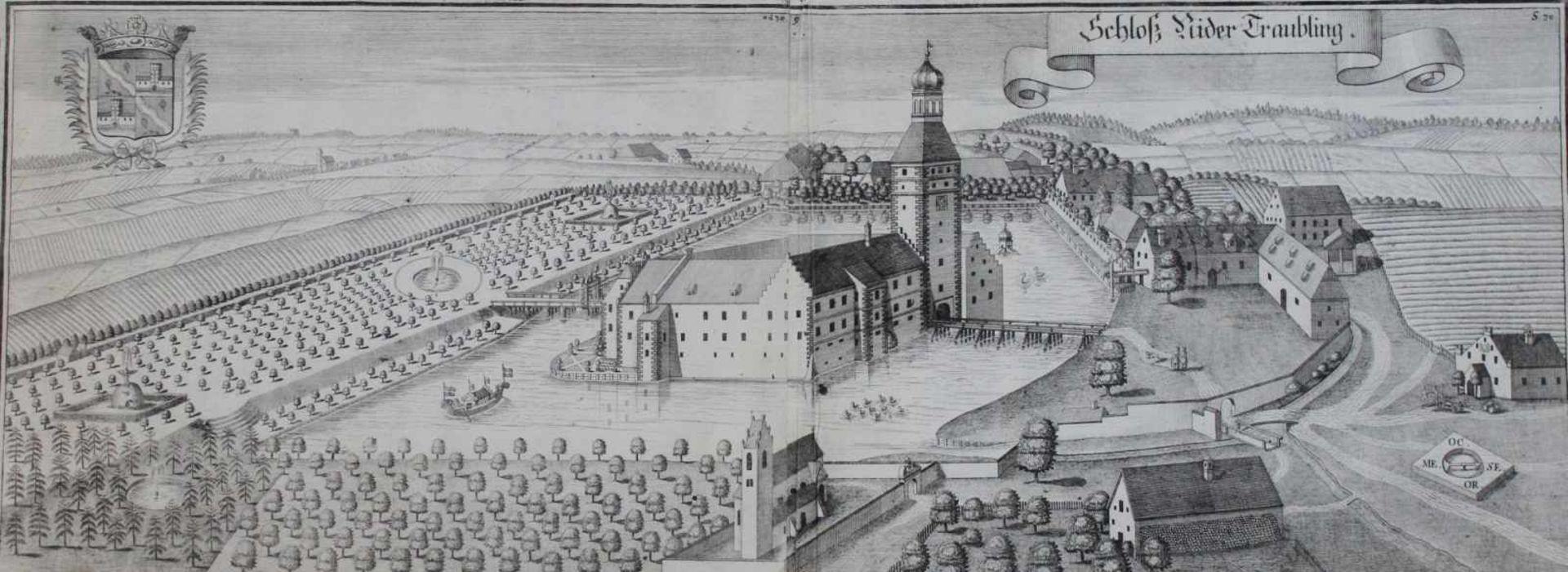 """Kupferstich - Michael Wening (1645 Nürnberg - 1718 München) """"Schloß Niedertraubling"""", Plattenmaße"""