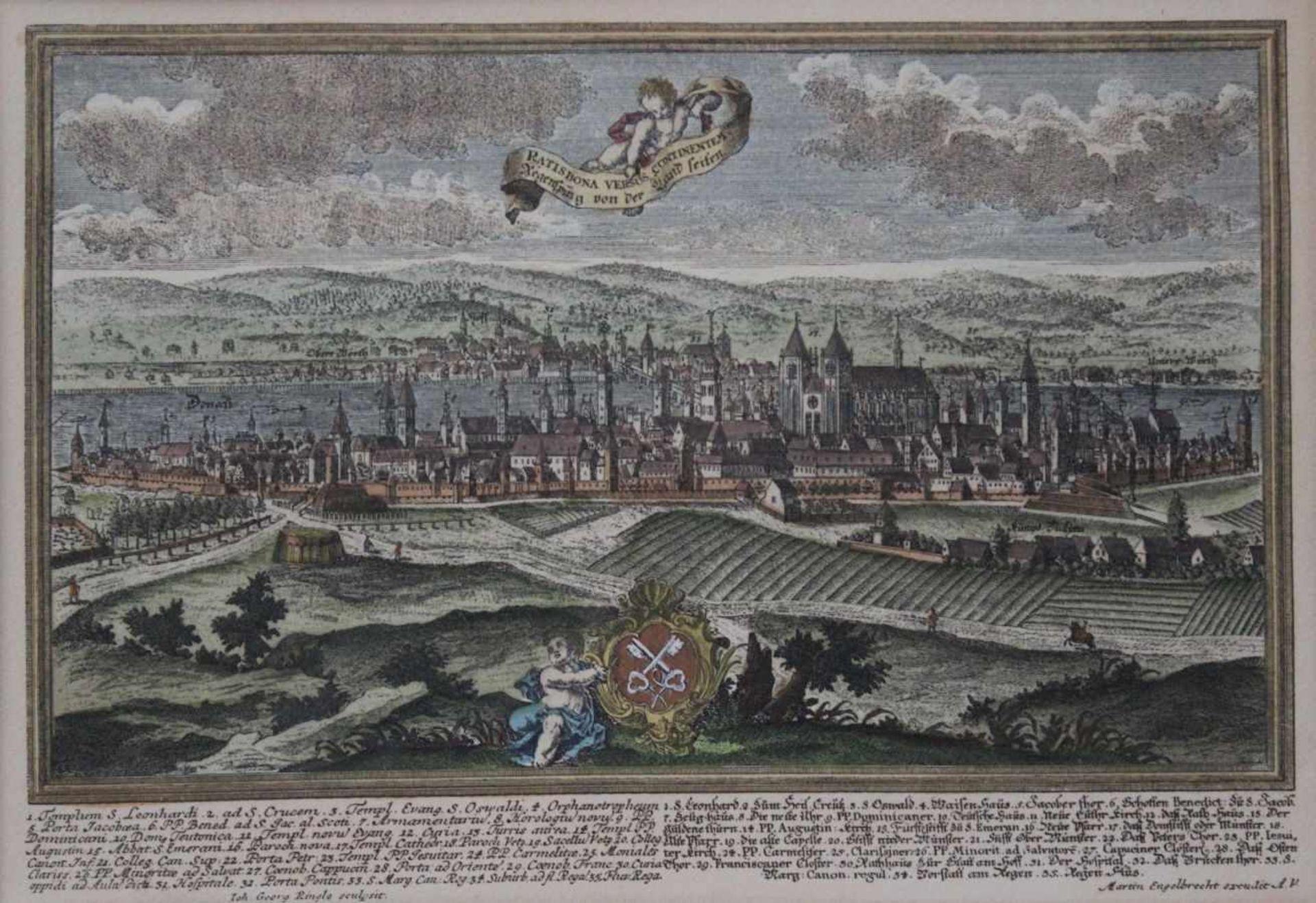 """Los 44 - Nachdruck einer Radierung - Johann Georg Ringlin (c.1691-c.1761) """"Prospekt Regensburg,"""