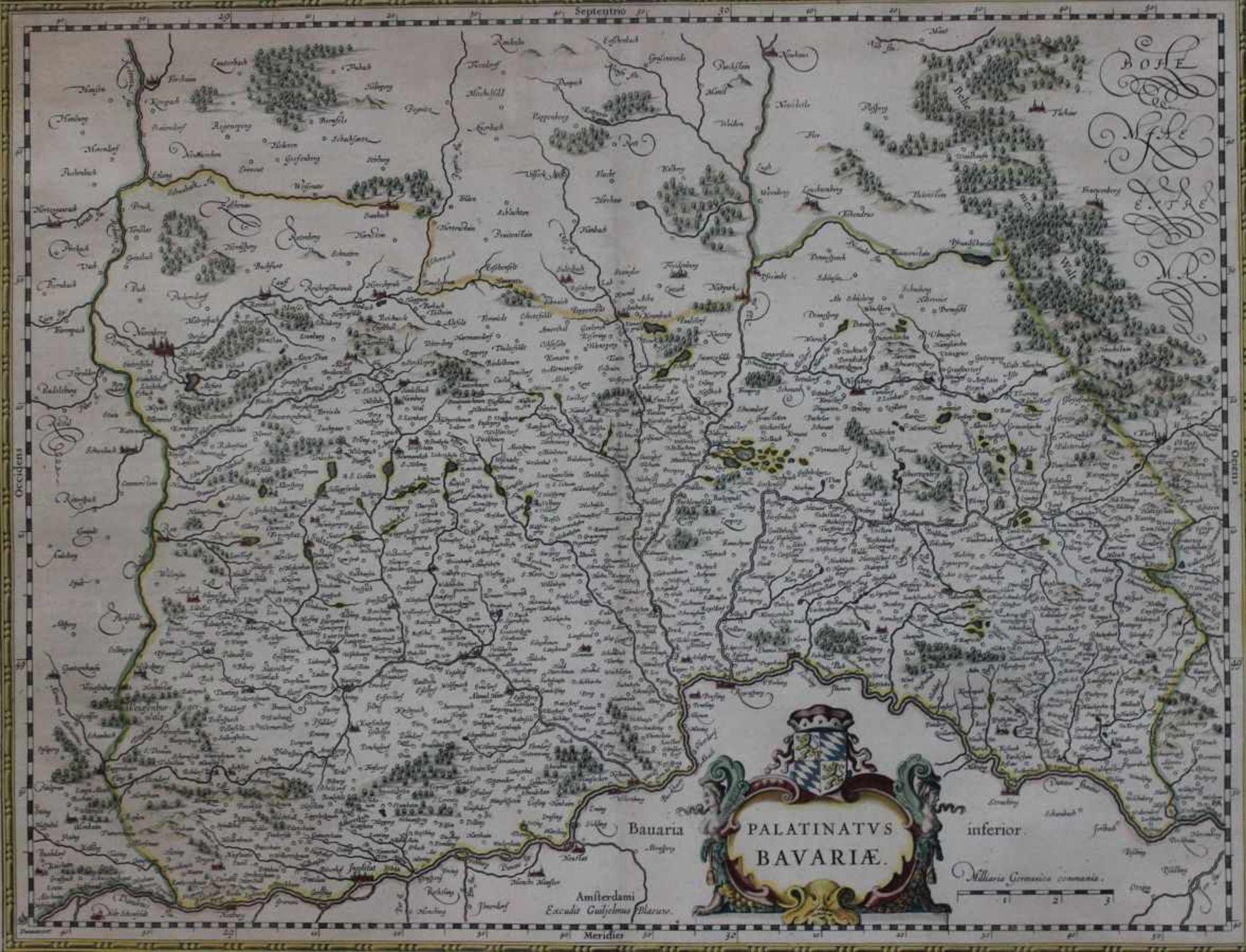 """Kupferstich - Willem Blaeu (1571 Alkmaar - 1638 Amsterdam) """"Palatinatus Bavariae - Bayern/"""