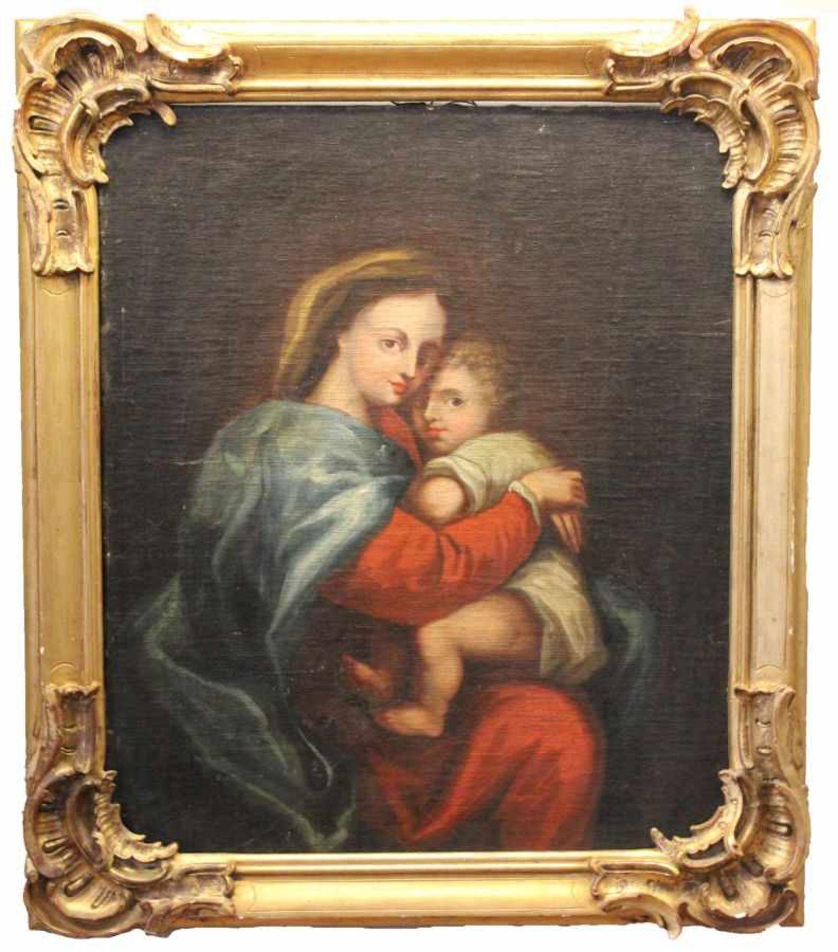 """Los 55 - Gemälde - Barock 18.Jahrhundert """"Maria mit Kind"""", anonymer Künster, Öl auf Leinwand (doubliert),"""