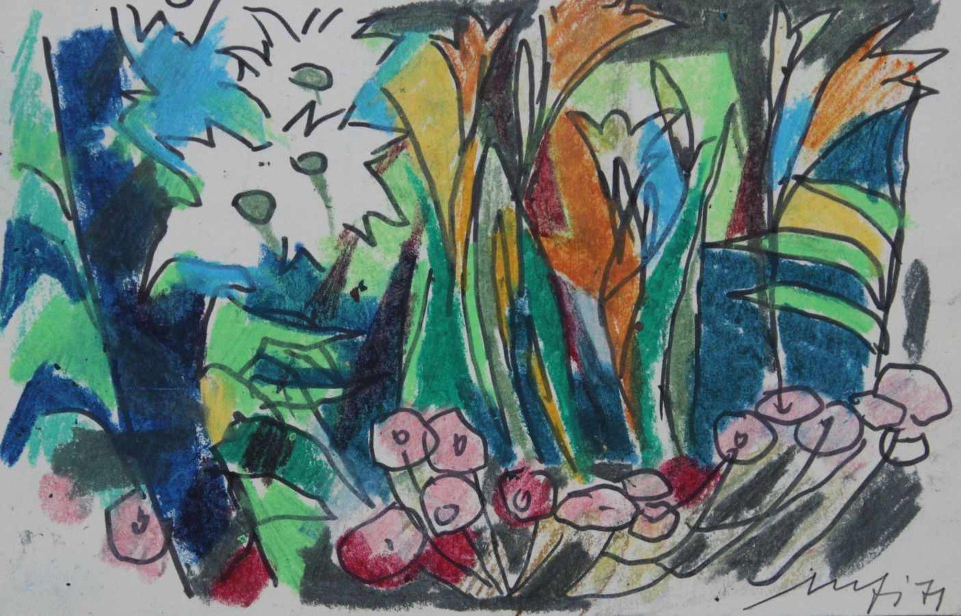 """Los 20 - Zeichnung - Willi Ulfig (26.11.1910 Breslau - 4.2.1983 Regensburg) """"Blumenwiese"""", r.u. signiert"""