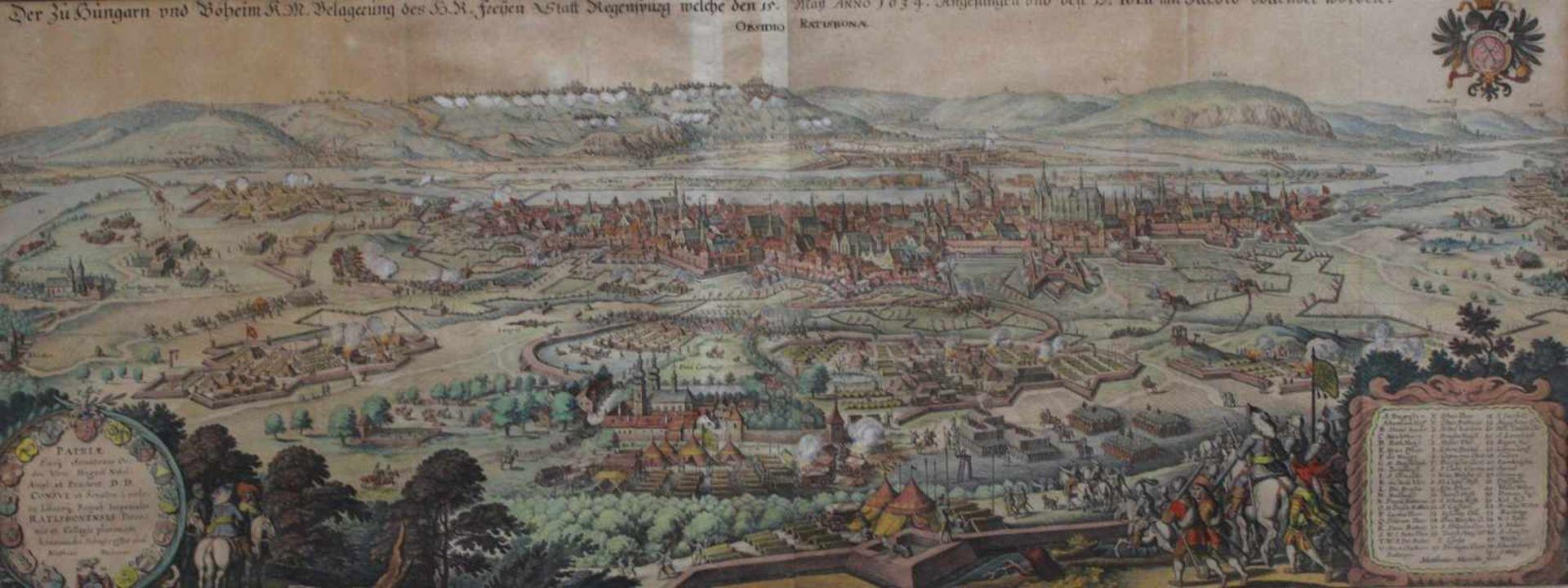"""Kupferstich - Matthäus Merian """"Regensburg - Stadtansicht von Süden mit der Belagerung durch Kaiser"""