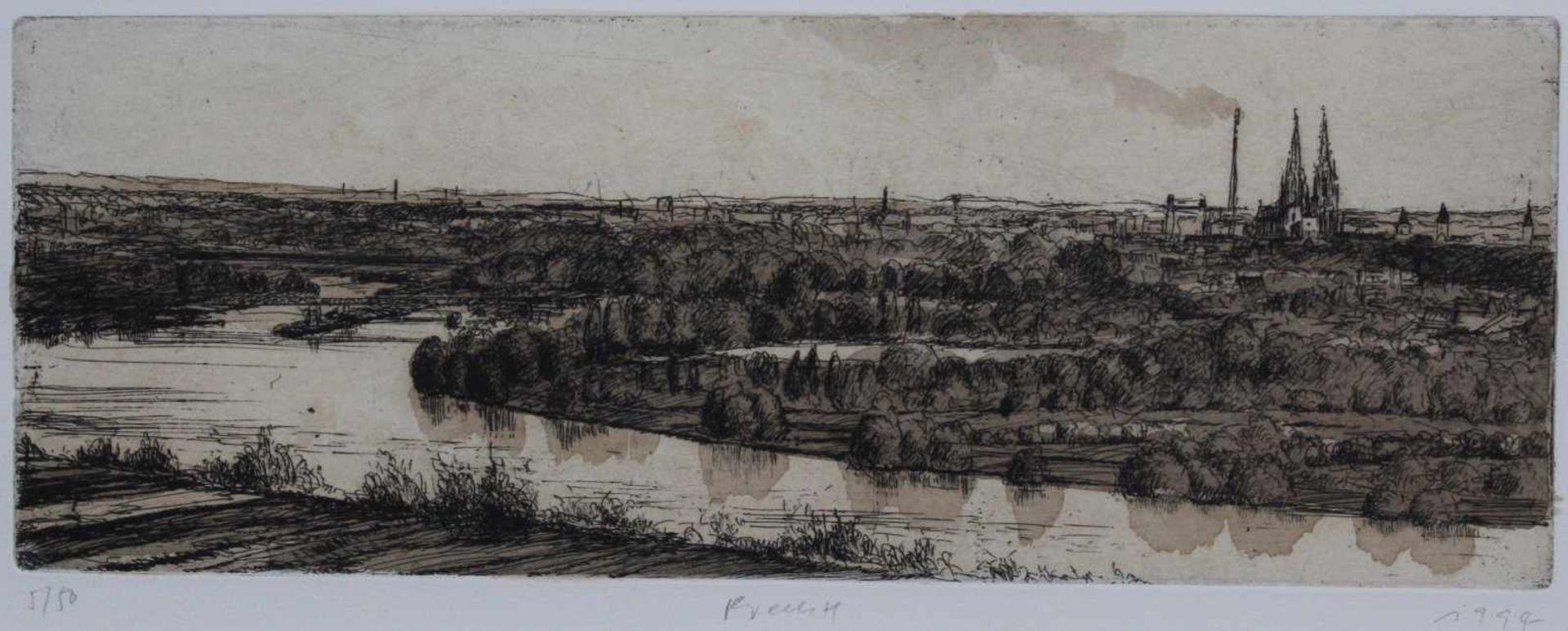 """Los 3 - Radierung - Gerhard M. Prechtl (1951 Regensburg) """"Ansicht von Regensburg"""", u.M. signiert, datiert"""