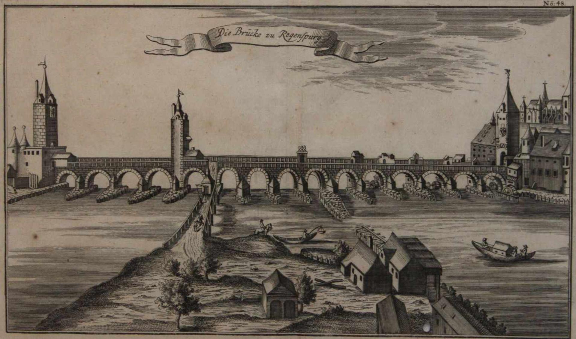 """Los 32 - Kupferstich - Johann Wilhelm Stör (act. 1727 - 1755 / tätig in Nürnberg) """"Die Brücke zu Regensburg"""","""