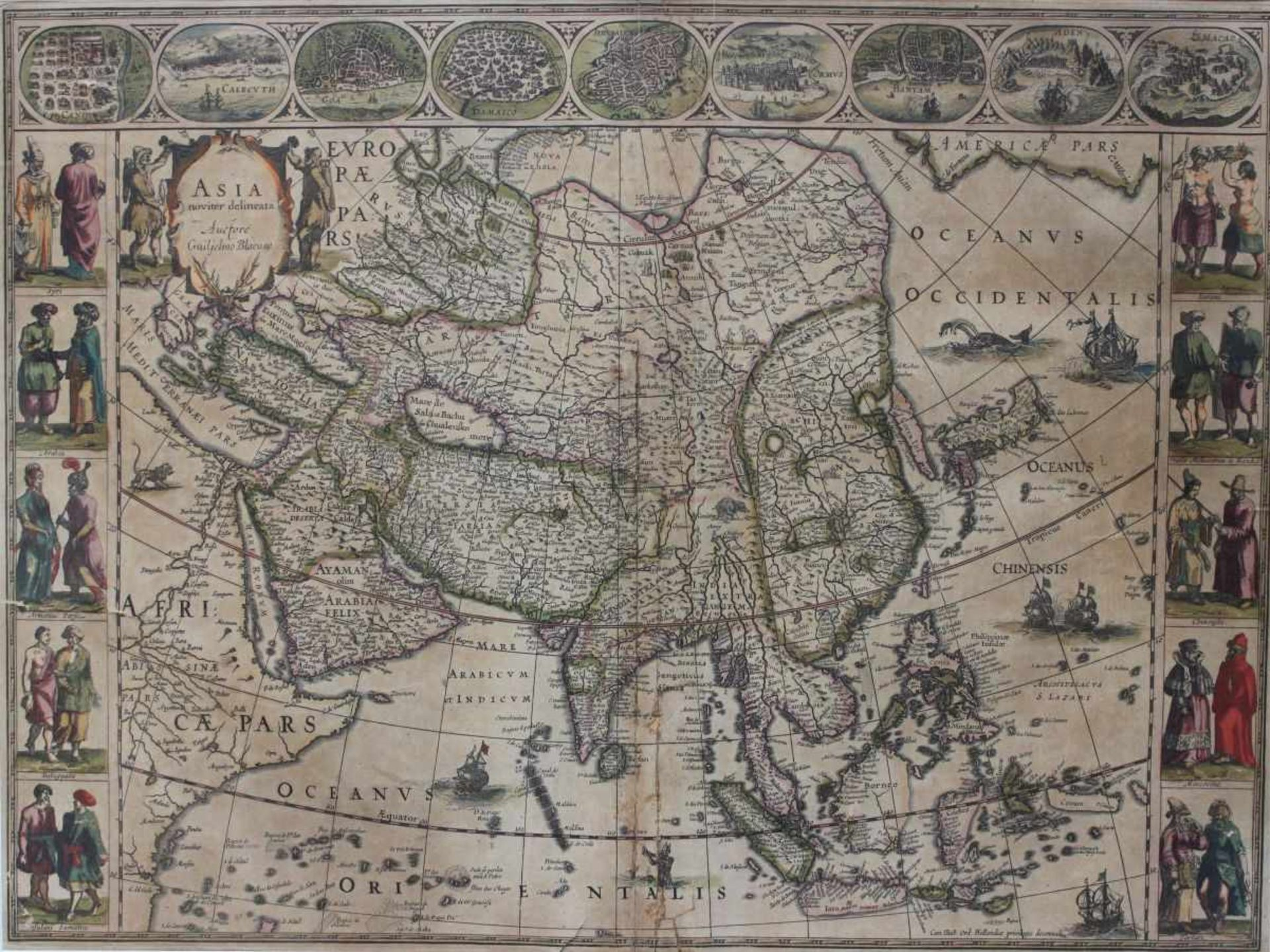 """Los 57 - Kupferstich - Willem Blaeu (1571 Alkmaar - 1638 Amsterdam) """"Asia noviter delineata, Auctore"""
