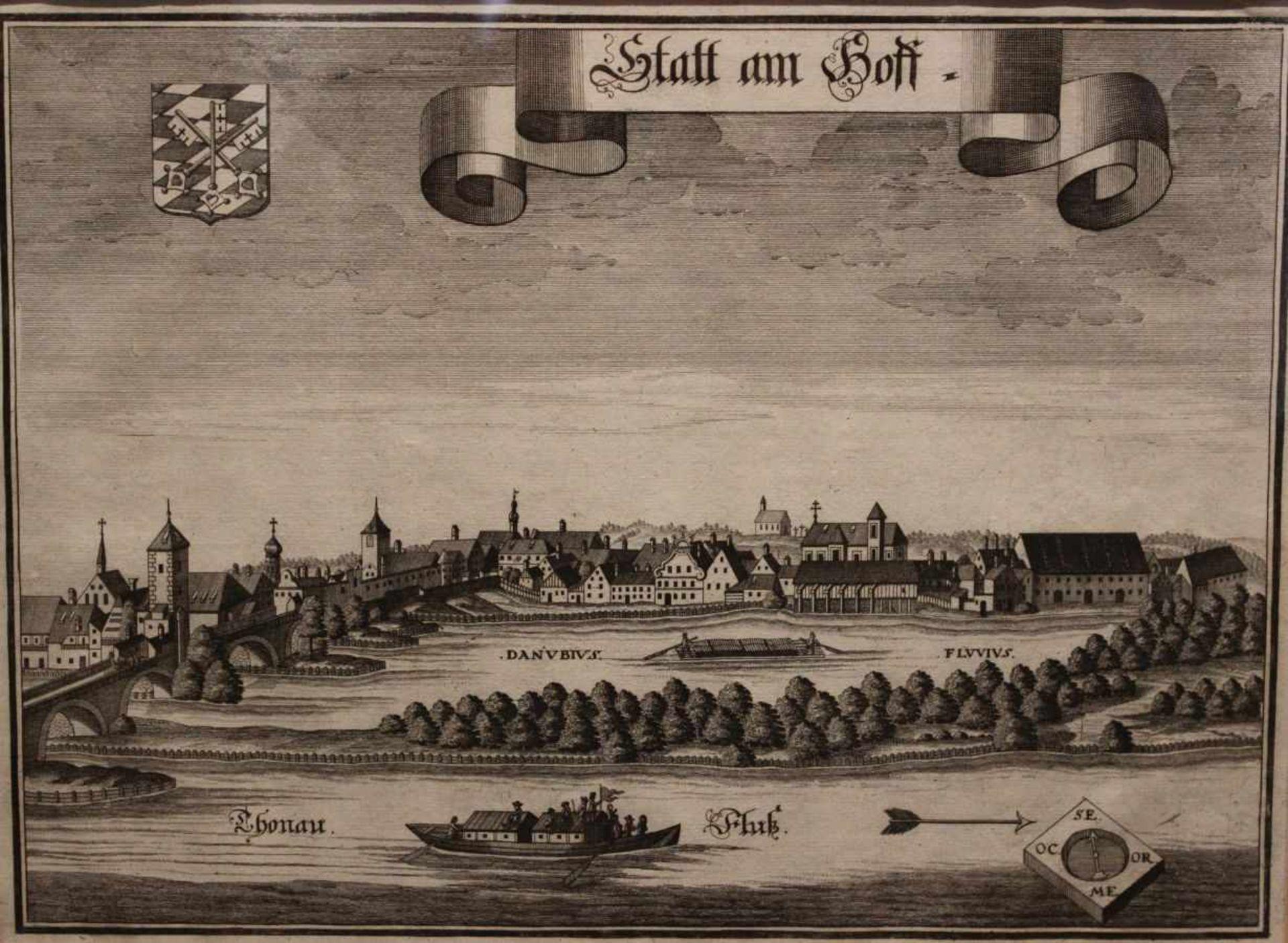 """Los 29 - Kupferstich - Michael Wening (1645 Nürnberg - 1718 München) """"Stadtamhof - Ansicht vom Süden mit"""