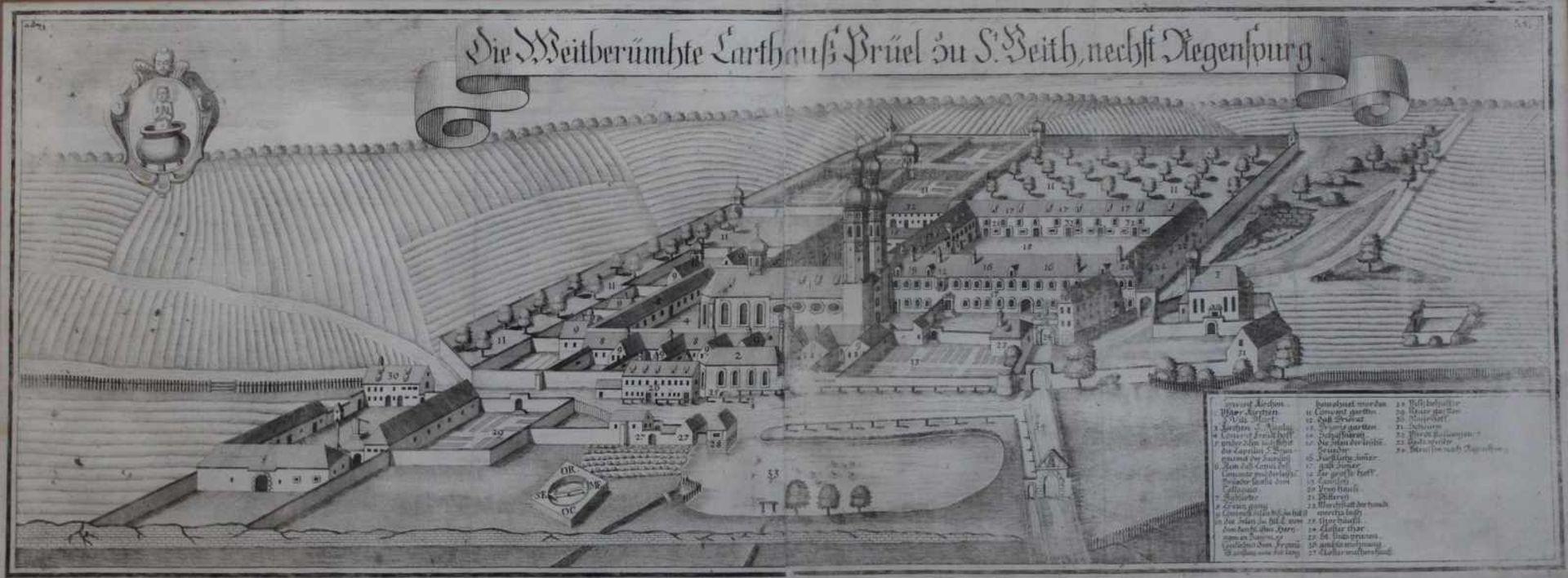 """Los 25 - Kupferstich - Michael Wening (1645 Nürnberg - 1718 München) """"Brühl zu St. Veith bei Regensburg"""","""
