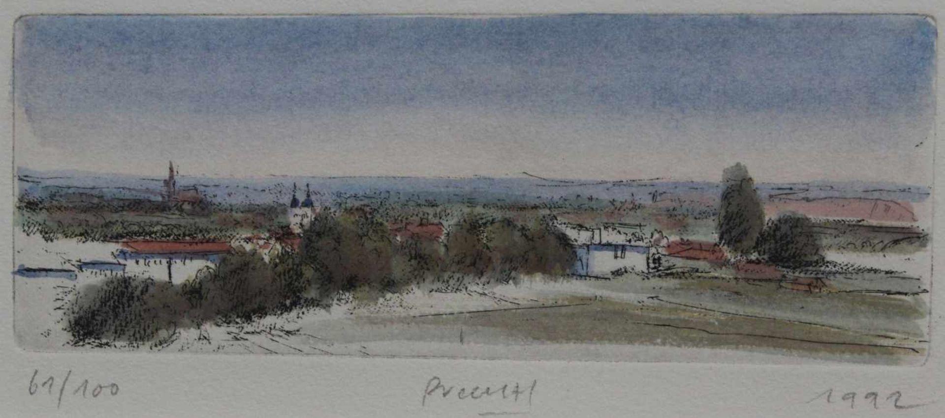 """Los 7 - Radierung - Gerhard M. Prechtl (1951 Regensburg) """"Ansicht bei Regensburg"""", u.M. signiert, datiert"""