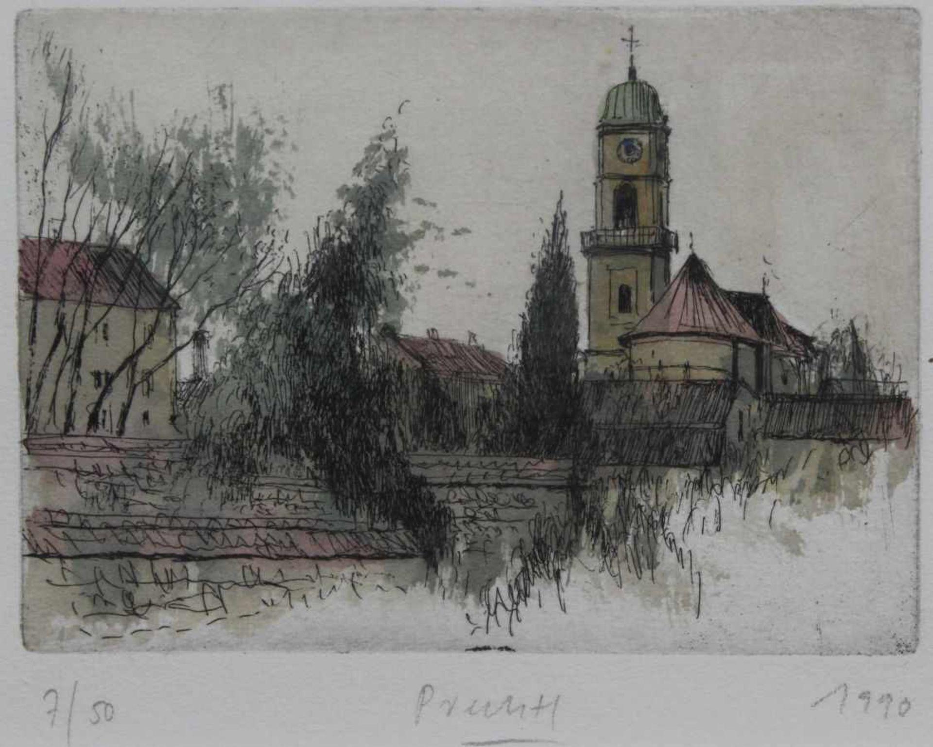"""Los 4 - Radierung - Gerhard M. Prechtl (1951 Regensburg) """"Stadtamhof mit St. Mang"""", u.M. signiert, datiert"""