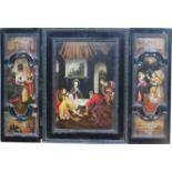 """Triptychon im Stil des 16. Jahrhunderts """"Geburt Christi - seitlich Darstellung der vier"""
