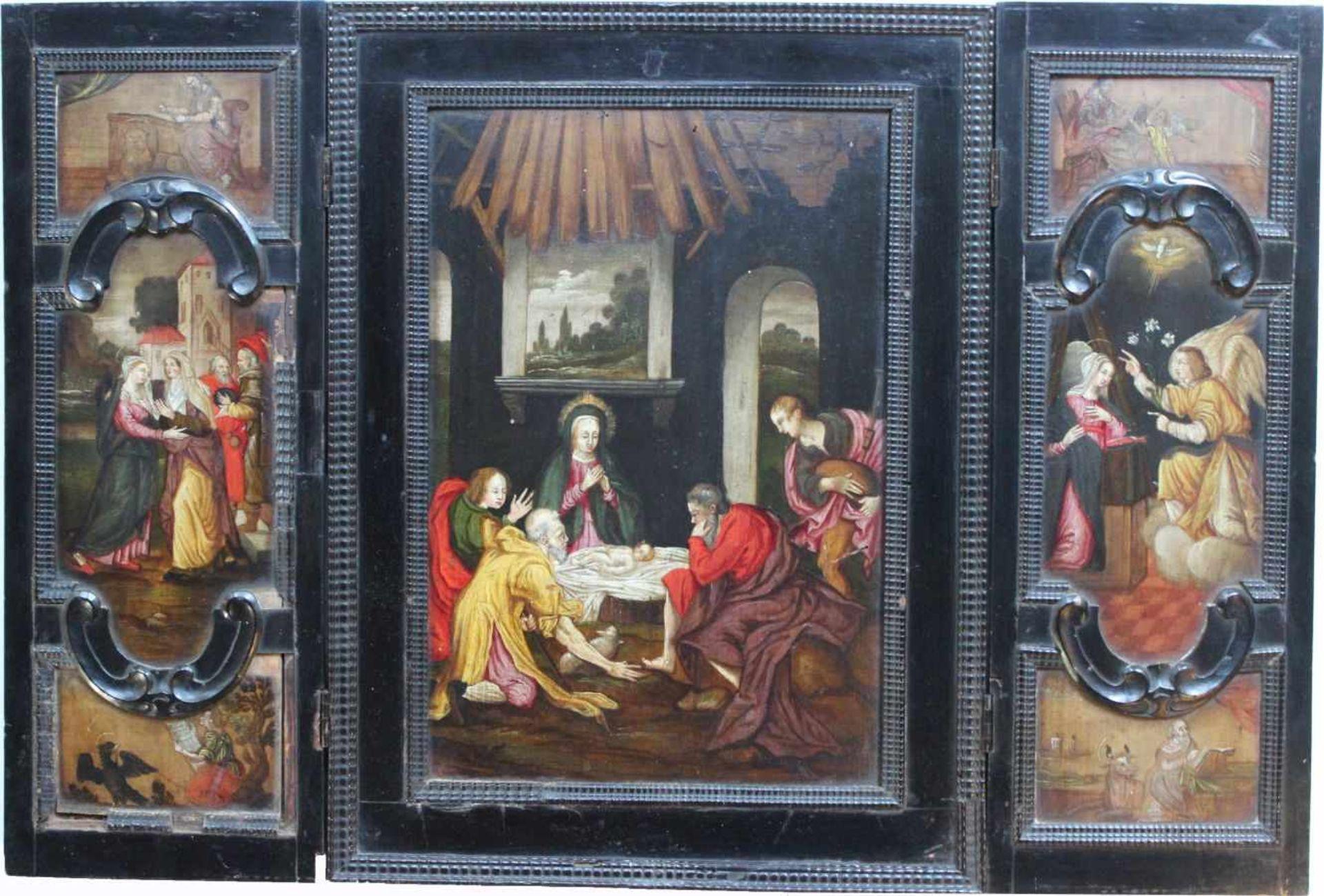 """Los 35 - Triptychon im Stil des 16. Jahrhunderts """"Geburt Christi - seitlich Darstellung der vier"""
