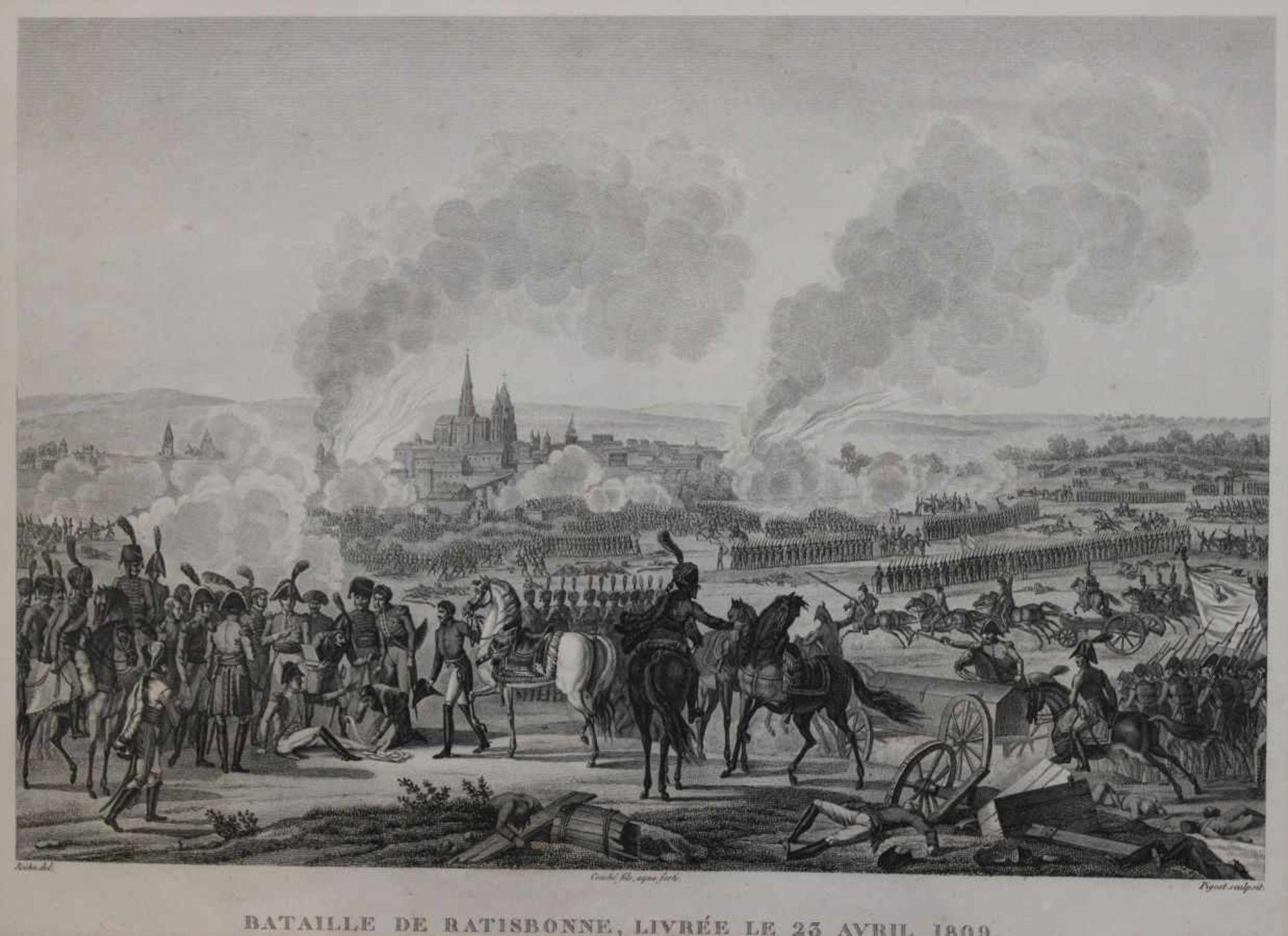 """Los 40 - Kupferstich - Francois Pigeot (Paris 1775 - nach 1820) """"Bataille de Ratisbonne, Livrée Le 23 Avril"""